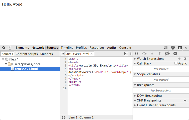 Using the Chrome Debugger Tools, part 3: The Source Tab