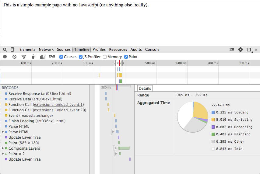 Using the Chrome Debugger Tools, Part 4: The Timeline Tab