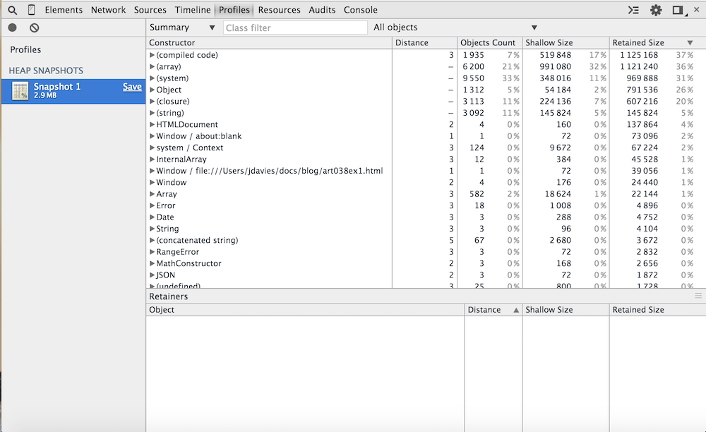 Using the Chrome Debugger Tools, Part 6: The Heap Profiler